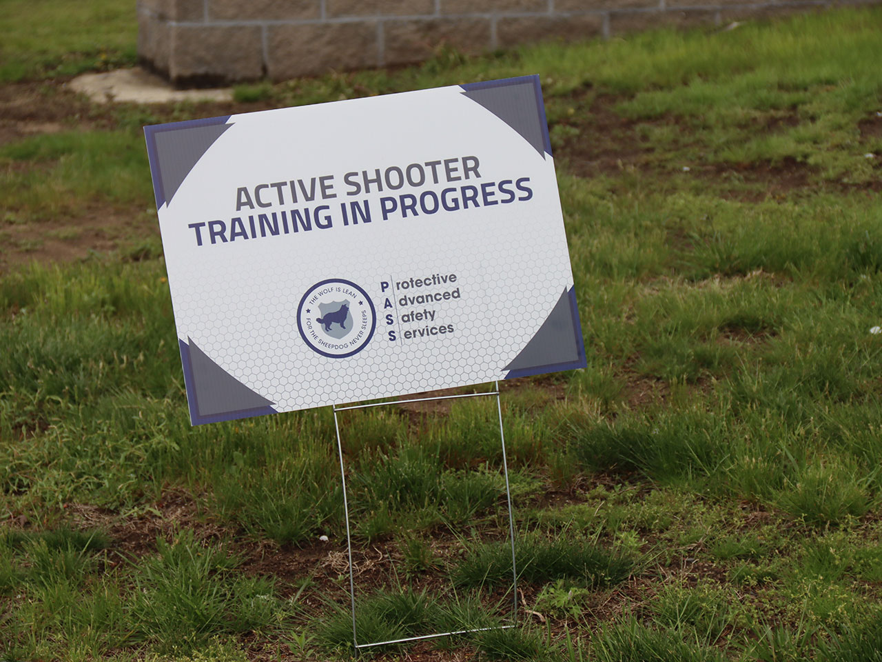 active shooter training in progress sign sign