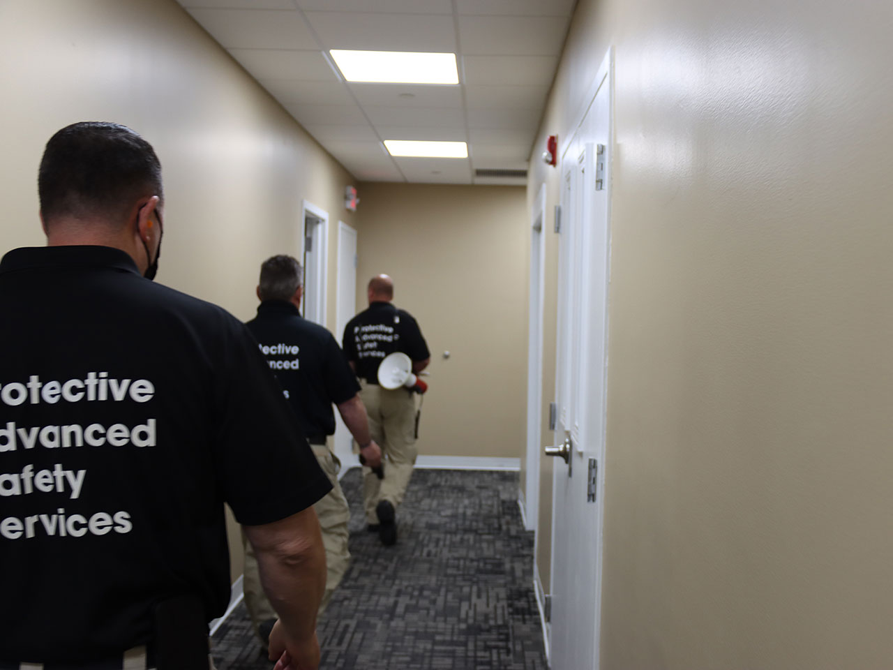 training: active shooters line hallway