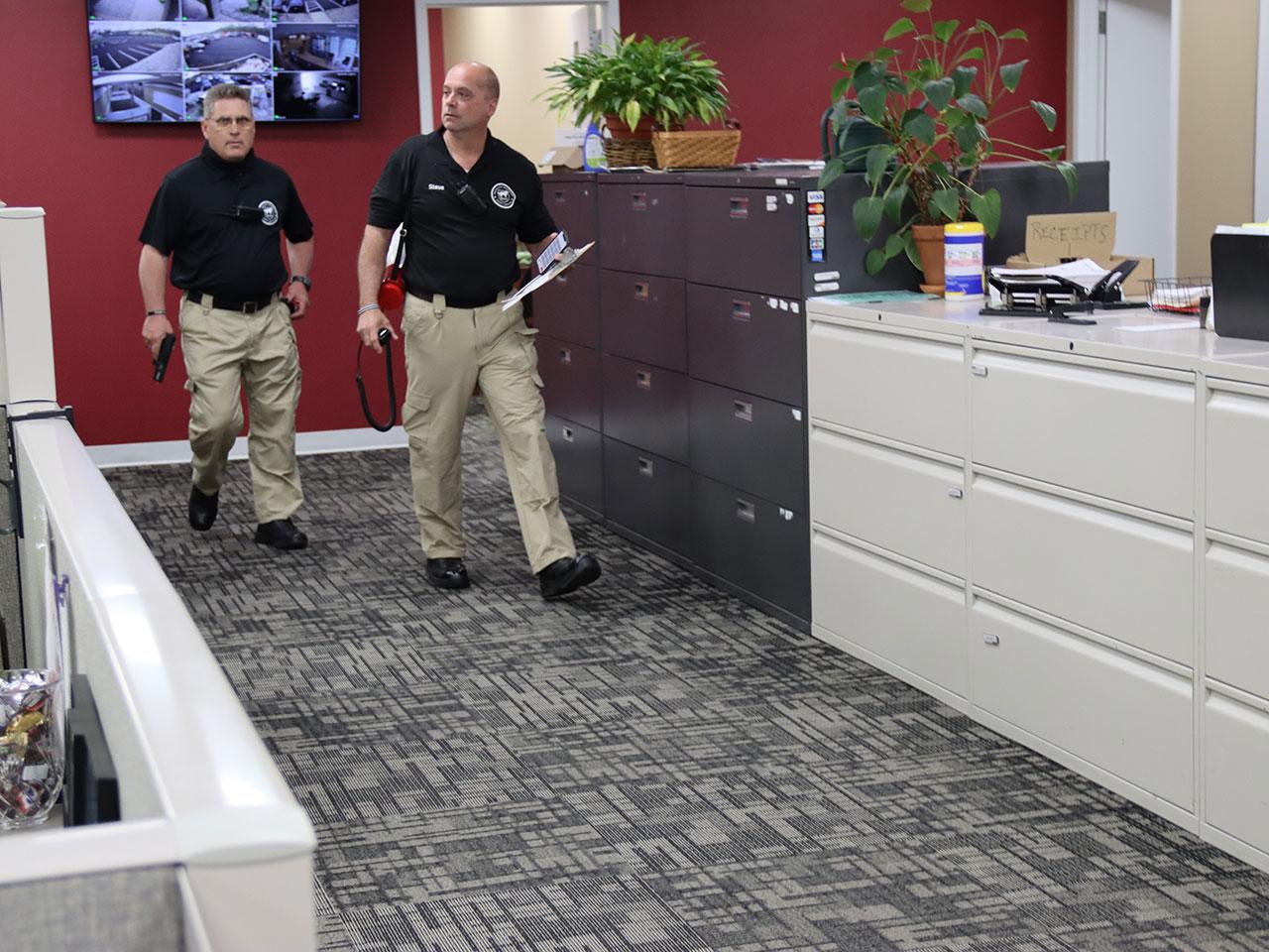 active shooter practice shooter walks around office