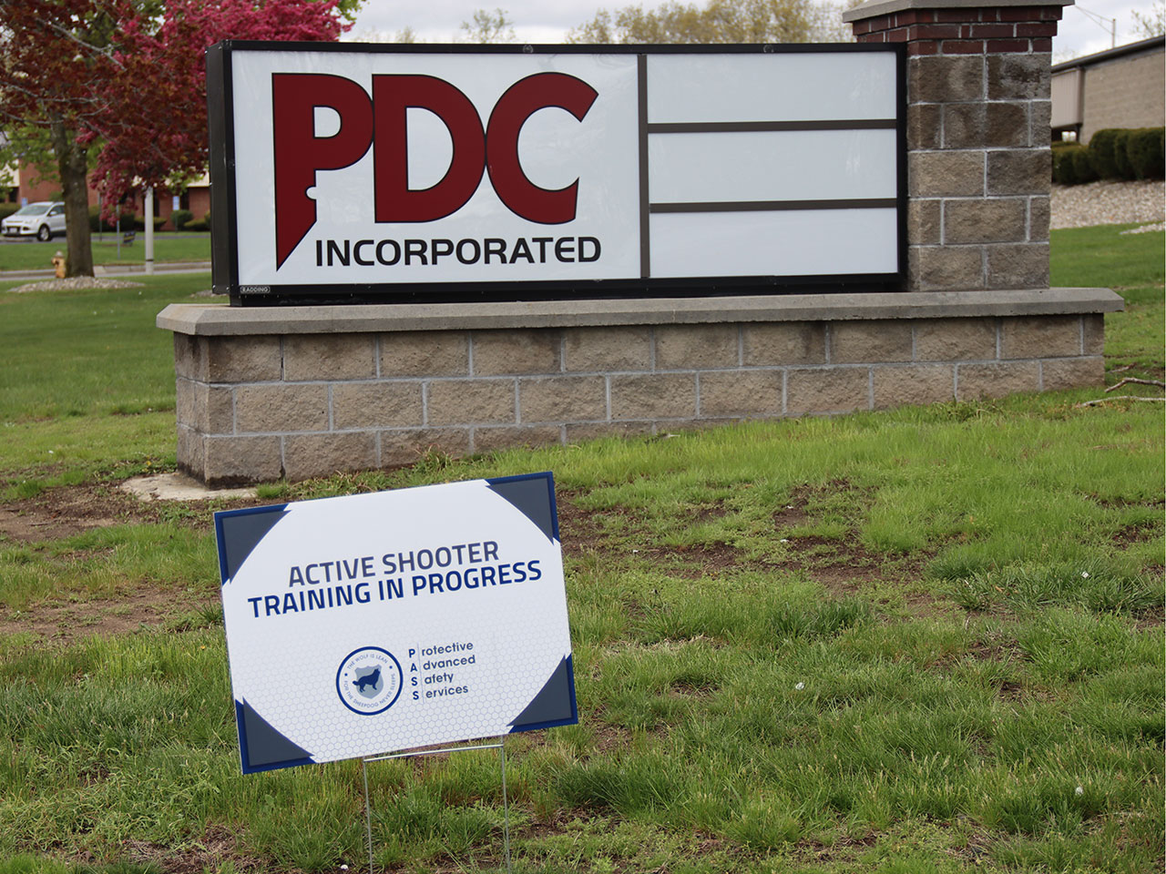 PDC Inc active shooter training signs
